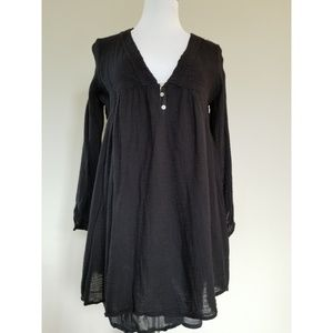 Zara Trafaluc Gauzy Black Layered Tunic Dress